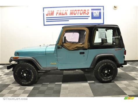 teal jeep 1995 teal pearl jeep wrangler s 4x4 62758206 photo 2