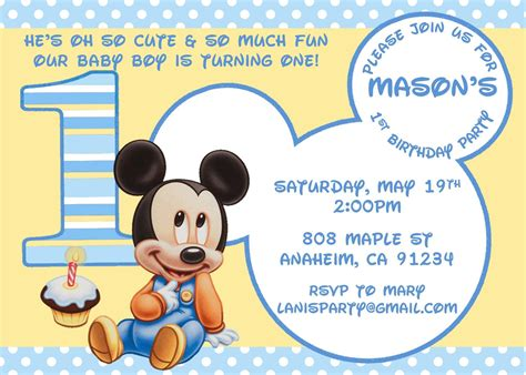Mickey Mouse Birthday Invitation Card Template by Baby Mickey Mouse Matches Mickey S 1st Supplies