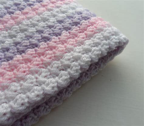 crochet baby blanket baby pink purple white baby shower gift stripy blanket made to order on luulla