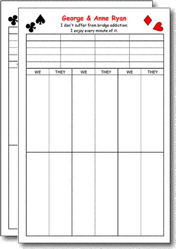 bridge tally template bridge score pads humorous 2 pk
