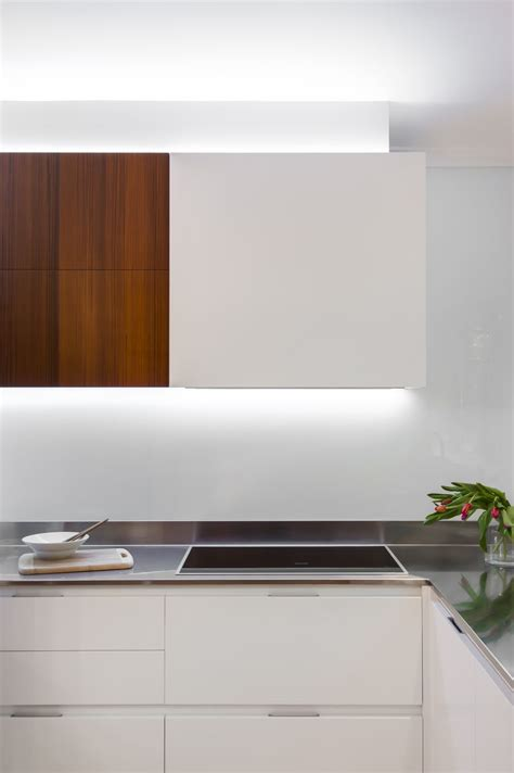 Kitchen Task Lighting Ideas by Small Contemporary Kitchen Makes Room For Home Office And