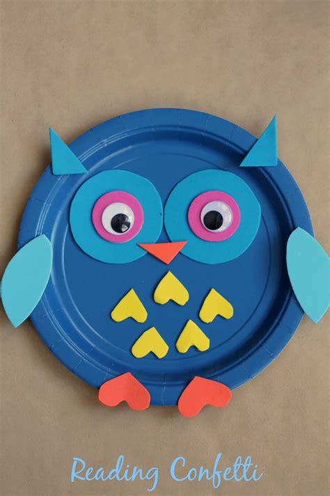 Paper Plate Owl Craft - paper plate owl craft reading confetti
