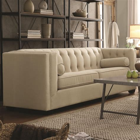 couch cairns coaster cairns stationary sofa with tufted back and lumbar