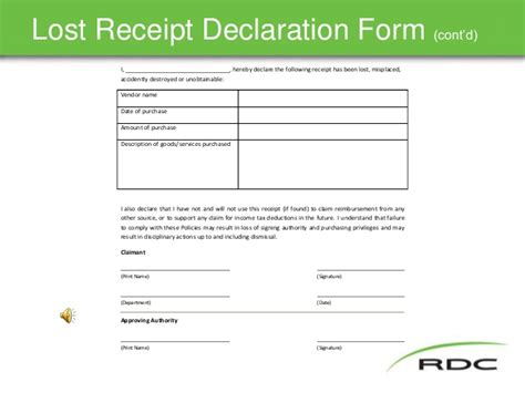 missing receipt form template travel policy slide show nov17