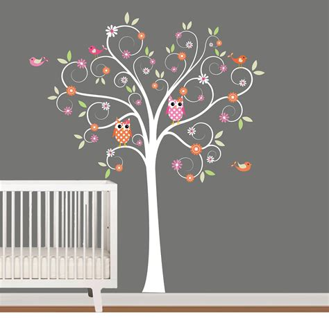 Tree Decal For Nursery Wall Wall Decals Nursery Tree Decal With Flowers By Nurserywallart