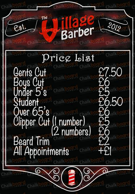 barber shop price list template price list template free barber shop price list price