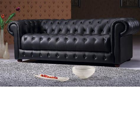 dreamfurniture 2 black tufted leather sofa set
