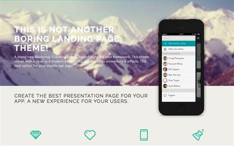 Diamond Bootstrap 3 Landing Page Landing Pages Wrapbootstrap Best Bootstrap Landing Page Templates