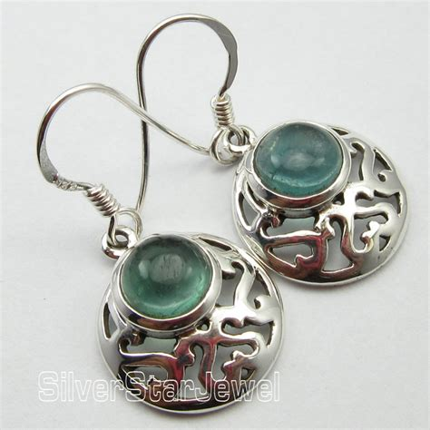 Handmade Celtic Jewelry - genuine green apatite handmade celtic earrings 3 1 cm 925
