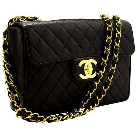 Black Quilted Chain Shoulder Bag by Chanel 11 Quot Jumbo Large Chain Shoulder Bag Black Quilted