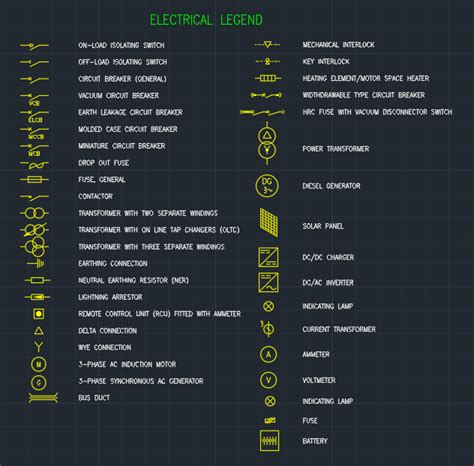 electrical legend free cad blocks and cad drawing