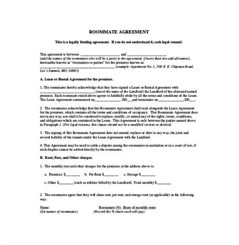 roommate rental agreement template free roommate rental agreement template template idea