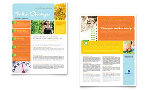 weight loss clinic datasheet template word publisher