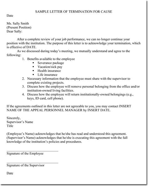 sample termination letter for employee free termination letter