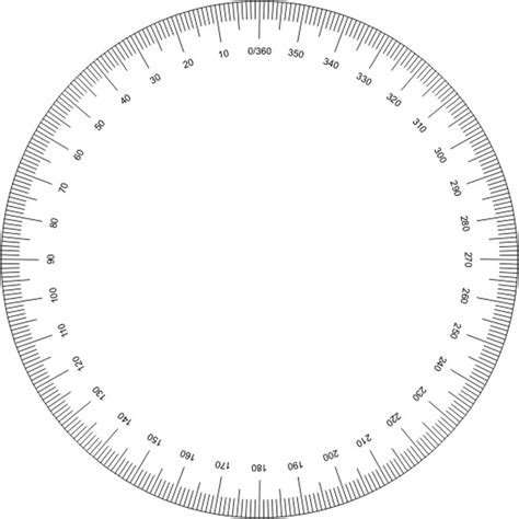 360 degree circle template 360 degree protractor printable clipart best
