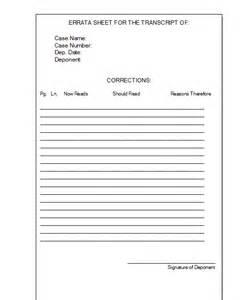 Errata Sheet Template e transcript