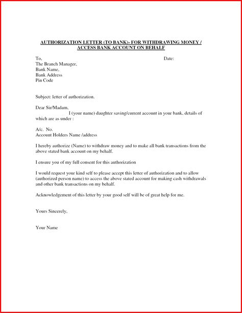 Authorisation Letter To Bank Manager