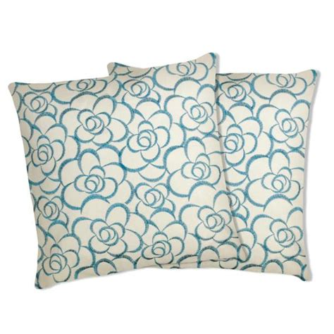 lush decor turquoise floral embroidered throw pillows set