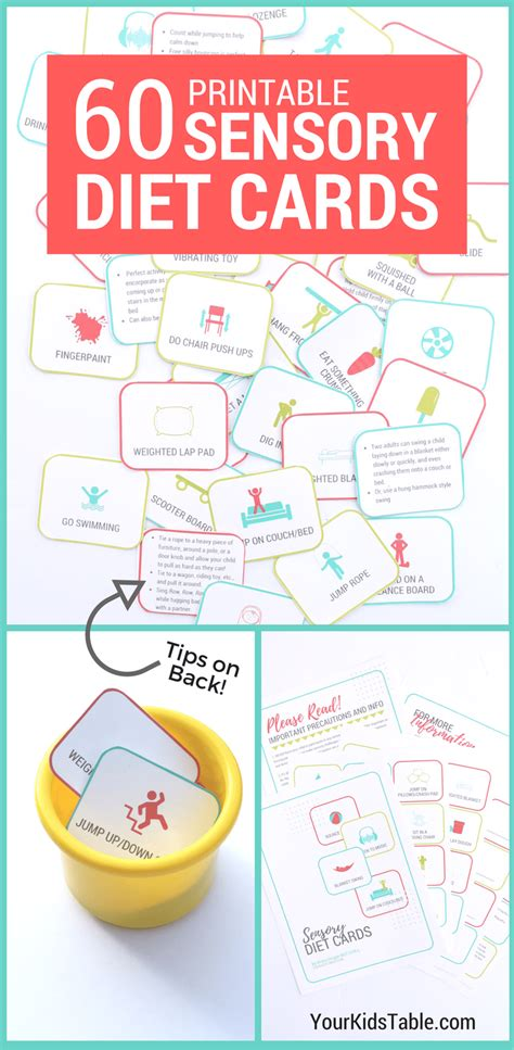 Sensory Cards Printable 60 printable sensory diet cards for to thrive your
