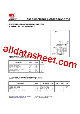 transistor mj11015 mj11015 datasheet pdf wing shing computer components