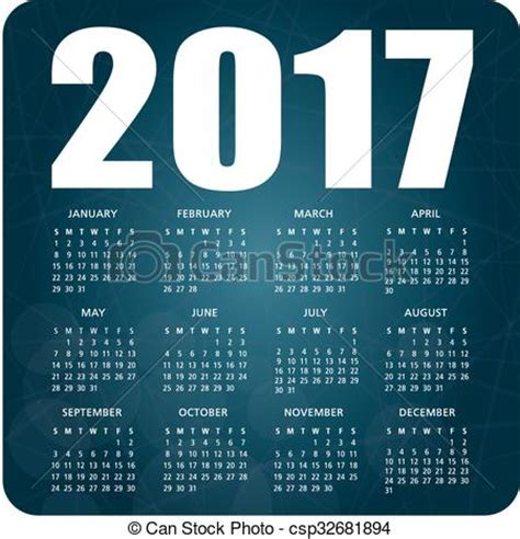 Calendario 2017 Ingles Vetor Eps De Azul Calend 225 2017 2017 Ingl 234 S