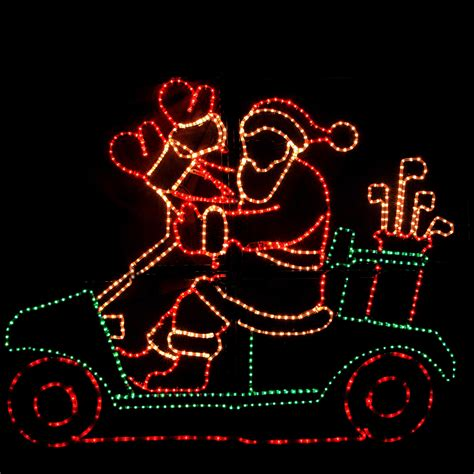 outdoor decoration waving santa with golf cart and