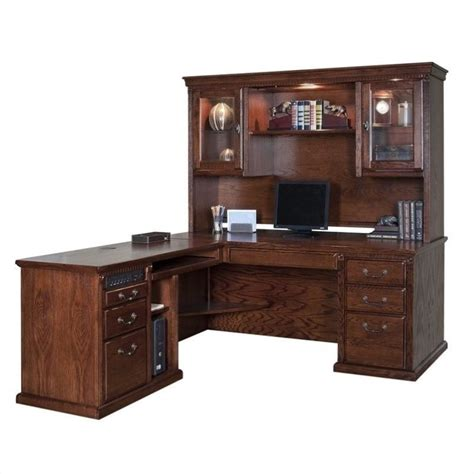 L Shaped Desk Hutch Kathy Ireland Home Oxford L Shape Executive Desk With Hutch In Burnish Ho684l B 3pc Pkg
