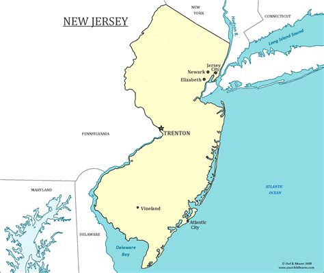where is new jersey on the map new jersey state map map of new jersey and information