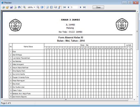 format laporan absensi sistem informasi absensi pegawai negeri sipil
