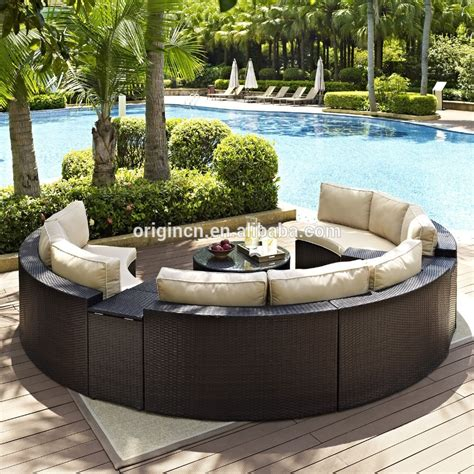 Circular Patio Furniture by Semi Circle Patio Wicker Chairs With Sectional Arm Tables