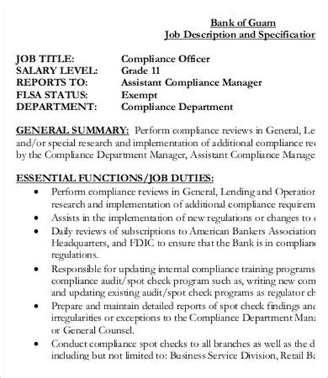 compliance officer bank description 9 compliance officer description in pdf free