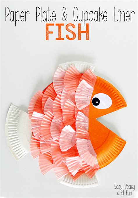 paper plate fish template craftionary