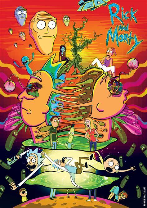rick  morty trippy illustration digital art