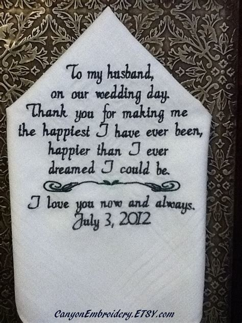 Letter To Fiance Before Wedding Fiance Wedding Gift Embroidered Handkerchief Personalized Wedding Handkerchief Idealpin