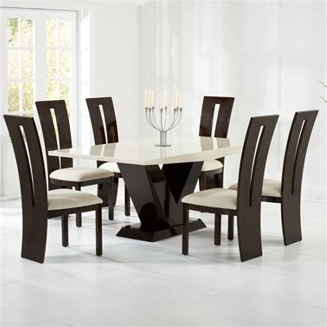 marble dining room set ophelia marble dining set in cream and brown with 6 chairs