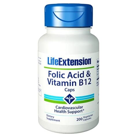 Vitamin Folic Acid folic acid vitamin b12 caps 200 vegetarian capsules health store vitamins