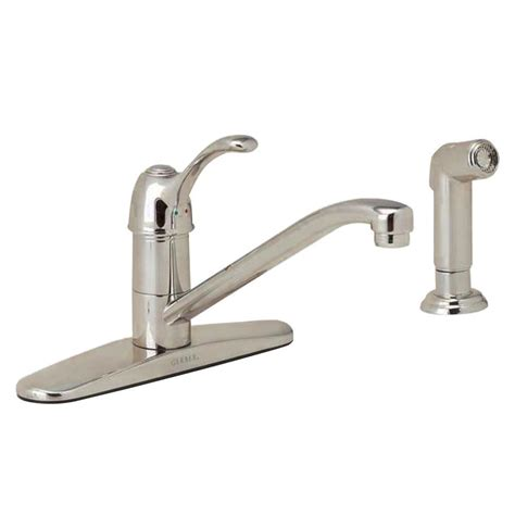gerber allerton single handle standard kitchen faucet with side sprayer in stainless steel