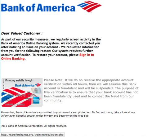 Bank Notification Letter The Daily Scam Bank Of America