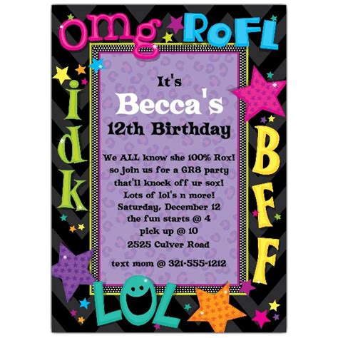 birthday invitation ideas for tweens talk birthday invitations paperstyle