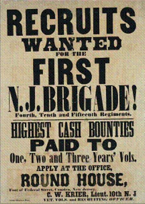 New Jersey Civil Search New Jersey Recruitment Poster Search Civil War Posters War