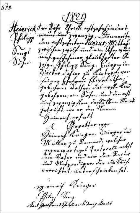 Hesse Darmstadt Birth Records The Birth And Baptism Of Heinrich Seng 1829 Steve S