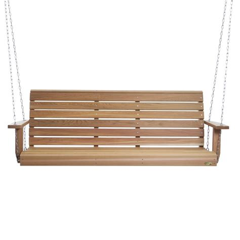 lowes porch swings shop all things cedar all things cedar 3 seat wood casual
