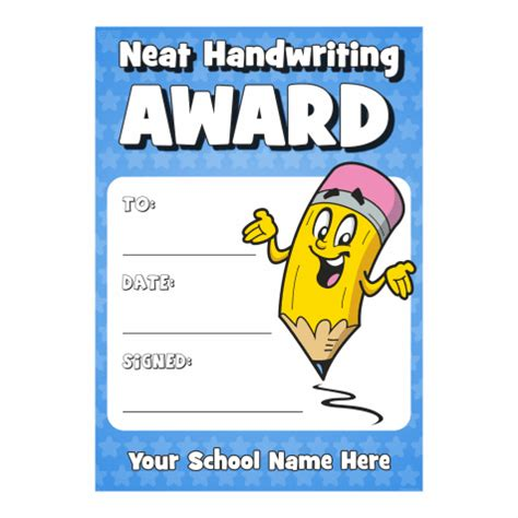 welcome to get set for school award winning neat handwriting award certificate available at school stickers