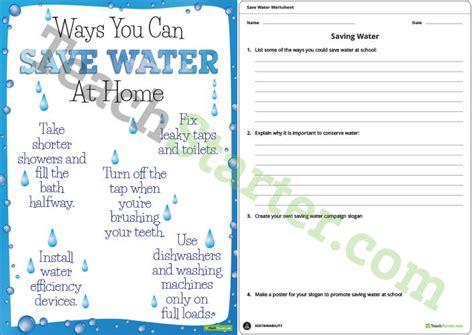 Save Water Worksheets For Kindergarten by Saving Water Fact Sheet And Worksheet Teaching Resource