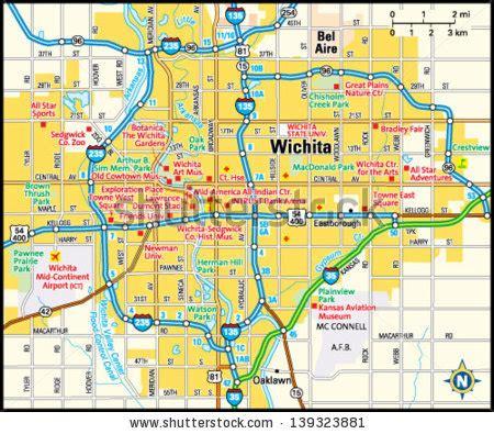 wichita map wichita kansas stock images royalty free images vectors