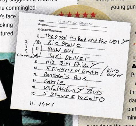which film did quentin tarantino write but not direct quentin tarantino s handwritten list of the 11 quot greatest