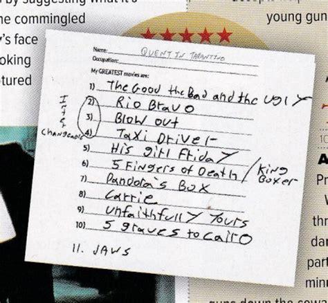 quentin tarantino film chronology quentin tarantino s handwritten list of the 11 quot greatest