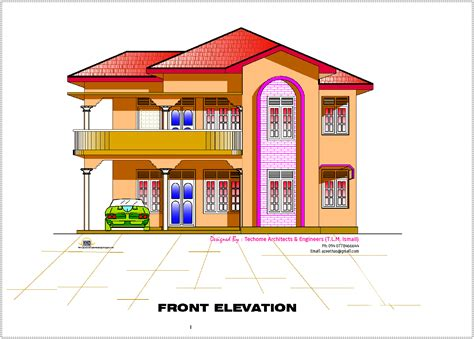 house design in 2d 2d elevation and floor plan of 2633 sq feet kerala house