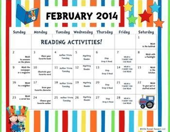 reading month themes 2011 freebie 2014 i love to read month activity calendar