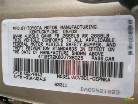 2003 camry color code 4q2 for desert sand mica photo 38756748 gtcarlot